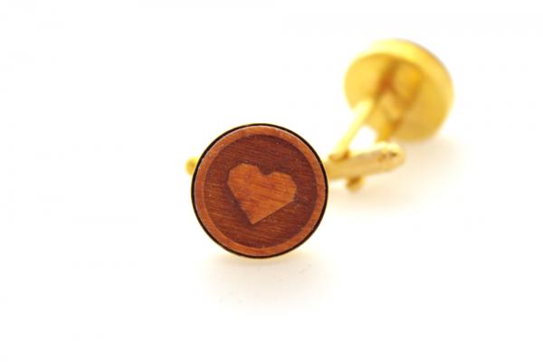Manschettenknöpfe Holz Herz Gold